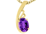 Tommaso Design™ Oval Genuine Amethyst Pendant Necklace style: 308453