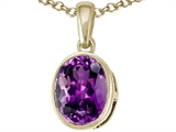 Tommaso Design™ 9x7mm Oval Checker Board Cut Genuine Amethyst Pendant Necklace style: 308463