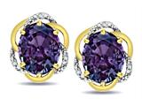 Star K ™ Large Love Knot Earrings with Oval 8 x 6mm Simulated Alexandrite style: 313864