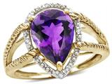 Star K ™ Pear Shape 11x8mm Genuine Amethyst Halo Split Shank Big Stone Ring style: 314458