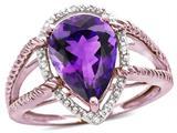 Star K ™ Pear Shape 11x8mm Genuine Amethyst Halo Split Shank Big Stone Ring style: 314473