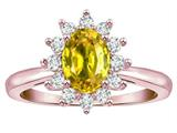 Star K ™ Classic Oval 7x5 Lady Diana Halo Genuine Yellow Sapphire Ring style: 314571
