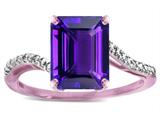 Star K ™ Octagon Emerald Cut Big Stone 10x8 Amethyst Bypass solitaire ring style: 314813
