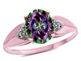 Star K ™ Oval 9x7 Rainbow Mystic Topaz trillion miracle setting wide band Ring style: 315004