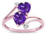 Star K ™ 6mm Genuine Amethyst Two Double Hearts Bypass Promise Ring style: 319026