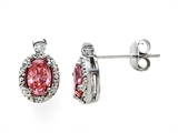 Zoe R™ Fancy Pink Signity by Swarovski Cubic Zirconia (CZ) Earrings with Diamonds style: 670012P