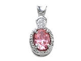 Zoe R™ Fancy Pink CZ Pendant Necklace with Small Side Diamonds (0.02 ct) style: 670016P