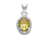 Zoe R™ Fancy Yellow CZ Pendant Necklace with Small Side Diamonds (0.02ct) style: 670016Y