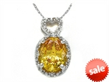Zoe R™ Fancy Yellow CZ Pendant Necklace with Diamonds style: 670005Y