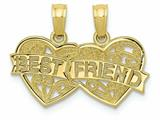 Finejewelers 10k Yellow Gold Best Friend Breakable Double Hearts with Banner Charm style: 10D3891