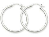 10k White Gold 2mm Hoop Earrings style: 10T826