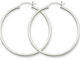 10k White Gold 2mm Round Hoop Earrings style: 10T831
