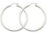 10k White Gold 2.5mm Round Hoop Earrings style: 10T845
