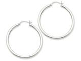10k White Gold 2.5mm Round Hoop Earrings style: 10T846