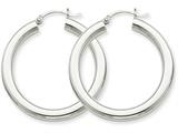 10k White Gold 4mm X 35mm Tube Hoop Earrings style: 10T859