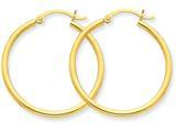 10k Polished 2mm Round Hoop Earrings style: 10T914