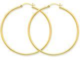 10k Polished 2mm Round Hoop Earrings style: 10T921