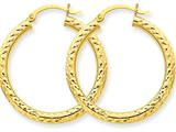 10k Bright-cut 3mm Round Hoop Earrings style: 10TC264