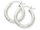 10k White Gold Satin and Bright-cut 3mm Round Hoop Earrings style: 10TC278