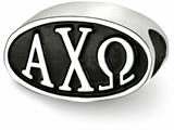 LogoArt Sterling Silver 15.25mm Alpha Chi Omega Oval Letters Bead Charm style: ACO002BDSS