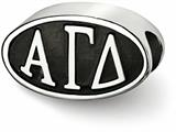 LogoArt Sterling Silver 12.25mm Alpha Gamma Delta Oval Letters Bead Charm style: AGD002BDSS