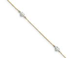 10 Inch 14k Two-tone Puff Heart 9in With 1in Ext Anklet style: ANK21910