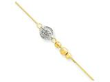 "10 Inch 14k Two-tone Bead With 9""w/1in Ext Anklet style: ANK22910"