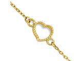 10 Inch 14k Gold Textured And Polished Heart W/ 1in. Ext. Anklet style: ANK27810