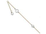 10 Inch 14k Two-tone Polished W/ 1.25in. Ext. Heart Anklet style: ANK27910