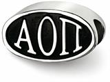 LogoArt Sterling Silver 12.25mm Alpha Omicron Pi Oval Letters Bead Charm style: AOP002BDSS