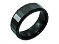 Chisel Ceramic Black Faceted 8mm Polished Beveled Edge Wedding Band