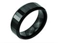 Chisel Ceramic Black Faceted Beveled Edge 8mm Polished Weeding Band