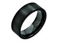 Chisel Black Ceramic Flat 8mm Brushed Weeding Band