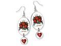 Ed Hardy Oval Dangling Heart Painted Earrings