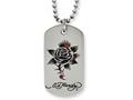 Stainless Steel Ed Hardy Thorny Rose Dog Tag Painted Necklace