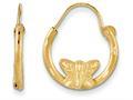 14k Yellow Gold Madi K Wire Bright Cut Butterfly Hoop Children Earrings