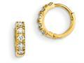 "14k Yellow Gold Madi K CZ Children""s Hinged Hoop Earrings"