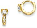 "14k Madi K CZ Children""s Heart Hinged Hoop Earrings"