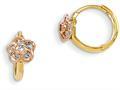 14k Madi K Yellow and Rose Gold CZ Flower Hinged Hoop Children Earrings