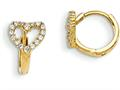 "14k Madi K Cz Children""s Hinged Hoop Heart Earrings"