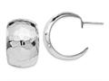 Finejewelers Sterling Silver Polished Hammered Post Earrings