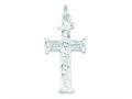 Sterling Silver Diamond -cut Cross Pendant Necklace - Chain Included