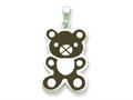 Sterling Silver Resin Teddy Bear Pendant - Chain Included