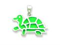 Sterling Silver Resin Turtle Pendant - Chain Included