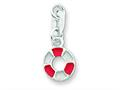 Sterling Silver Enameled and Polished Lifesaver Pendant Necklace - Chain Included