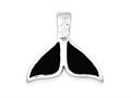 Sterling Silver Black Enameled Large Whale Fin Pendant Necklace Slide - Chain Included