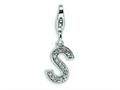 Amore LaVita™ Sterling Silver CZ Initial Letter S w/Lobster Clasp Bracelet Charm