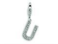 Amore LaVita™ Sterling Silver CZ Initial Letter U w/Lobster Clasp Bracelet Charm