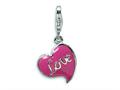 Amore LaVita™ Sterling Silver 3-D Pink Enameled Heart w/Lobster Clasp Bracelet Charm