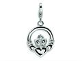 Amore LaVita™ Sterling Silver CZ Claddagh w/Lobster Clasp Bracelet Charm
